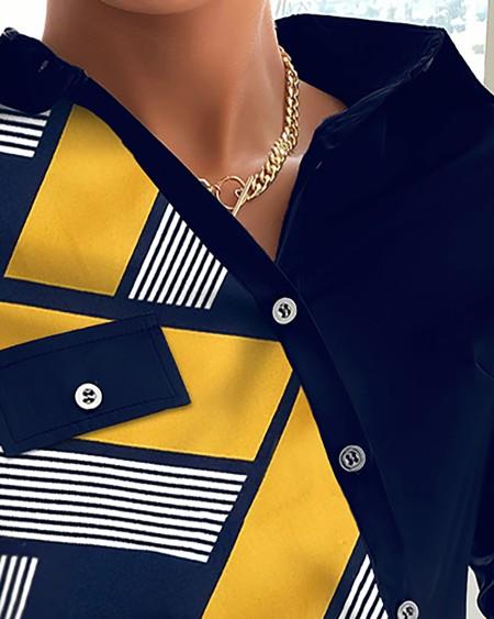 Geometric Print Long Sleeve Buttoned Up Shirt