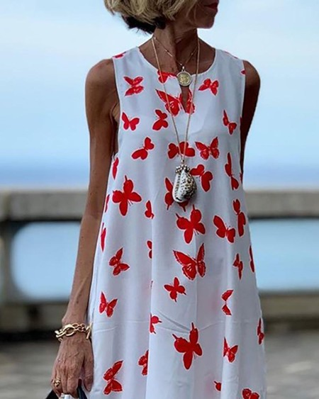 Butterfly Print Sleeveless Maxi Dress