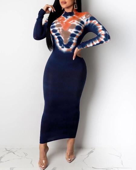 boutiquefeel / Abstract Print Long Sleeve Midi Dress