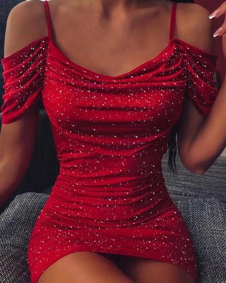 Spaghetti Strap Glitter Cami Dress
