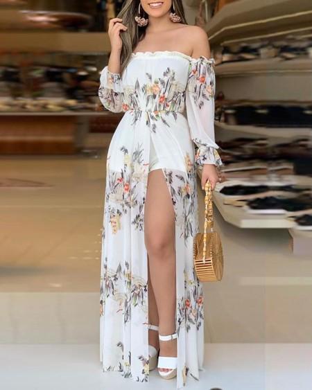 floral Print Culotte Design Thigh Slit Romper