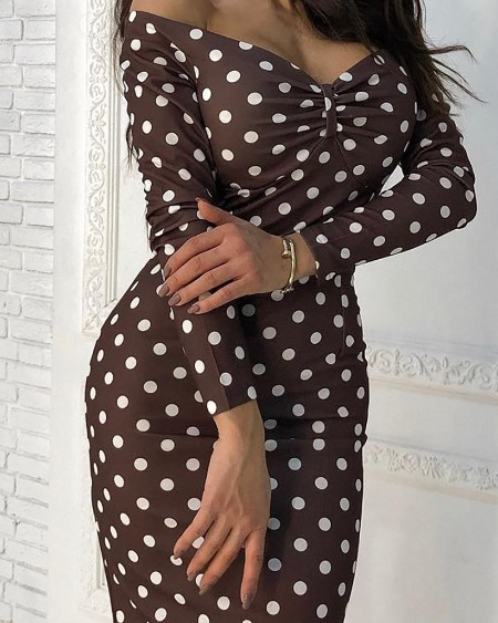 Long Sleeve Dot Print Ruched Midi Dress