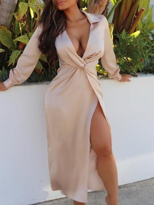 Plunge Twist Front Thigh Slit Dress