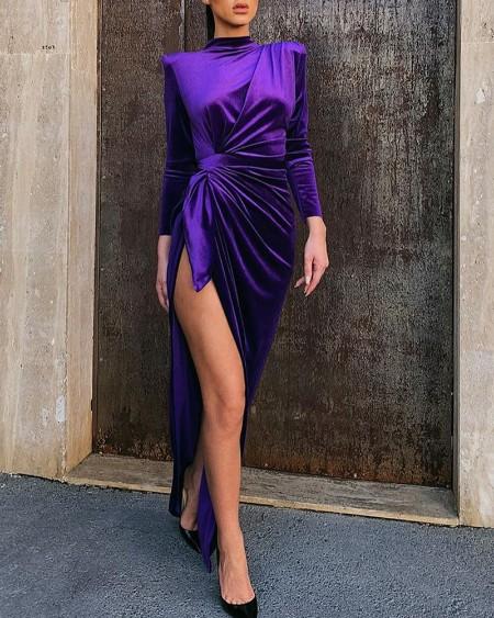 Solid Mock Neck Long Sleeve High Slit Ruched Dress