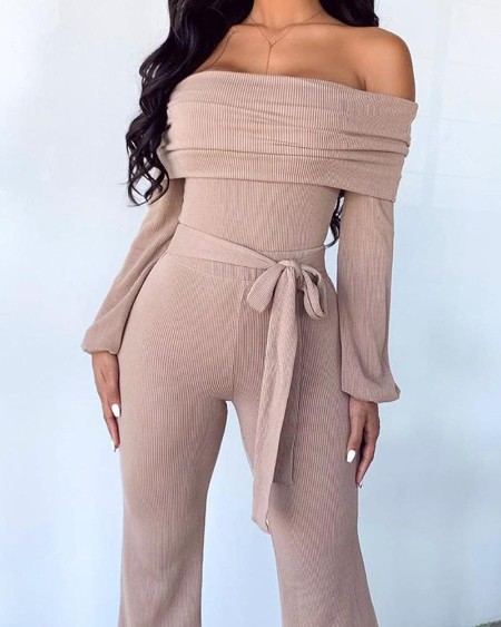 Off The Shoulder Tie Waist Ribbed Jumpsuit