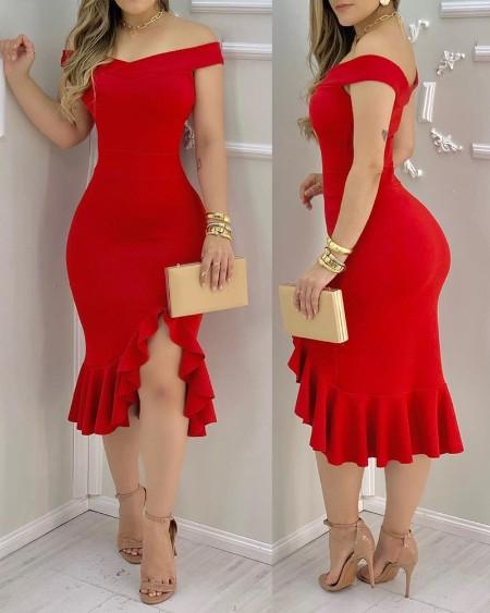 Plain Off Shoulder Ruffle Hem Slit Dress