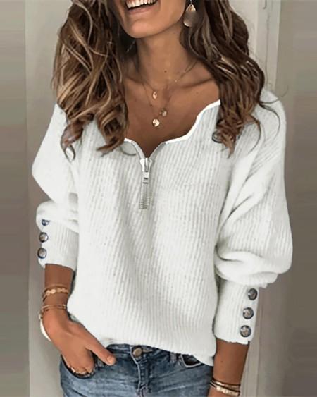 Plain Zipper Design Lantern Sleeve Sweater