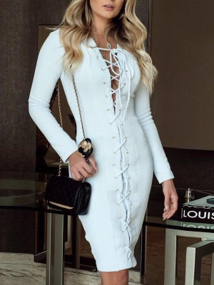 Long Sleeve Eyelet Lace-Up Party Dress