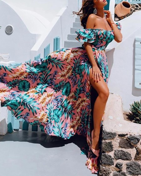 Off Shoulder Tropical Print Ruched Slit Maxi Dress