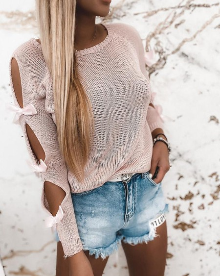 Cut-out Lace-up Long Sleeve Sweater