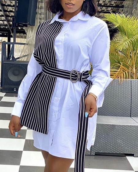 Plus Size Striped Print Colorblock Long Sleeve Dress