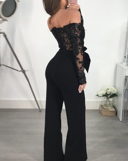 af1f70c222b Off Shoulder Guipure Lace Bodice Jumpsuit Off Shoulder Guipure Lace Bodice  Jumpsuit