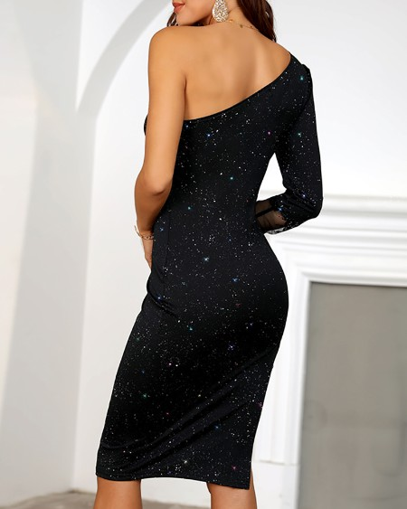 One Shoulder Lace High Slit Party Dress