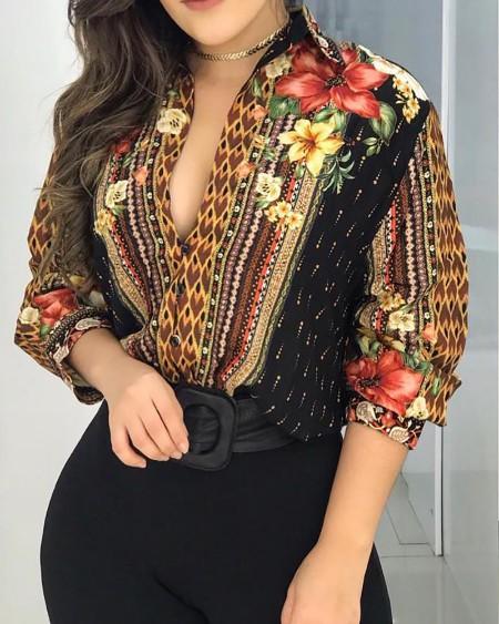 Floral Print Button Design Long Sleeve Shirt