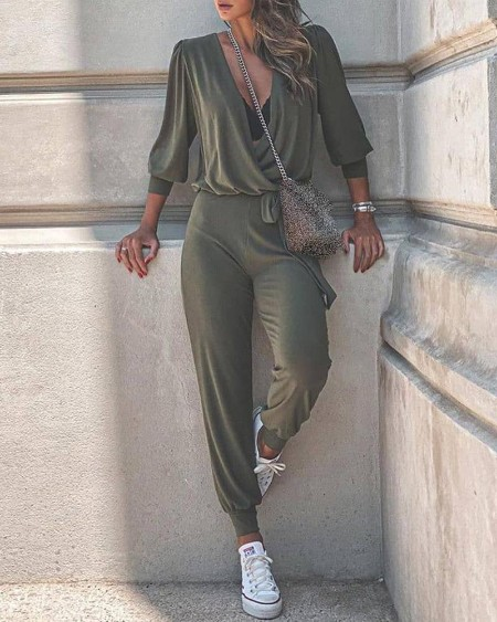 V-neck Ruched Casual Top & Pants Set