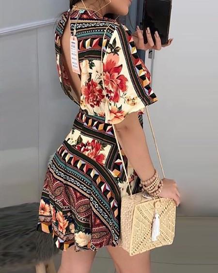Plunge Ethnic Print Tight Waist Dress