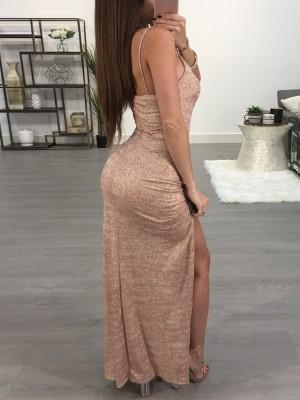 Glittering Side High Slit Maxi Slip Dress