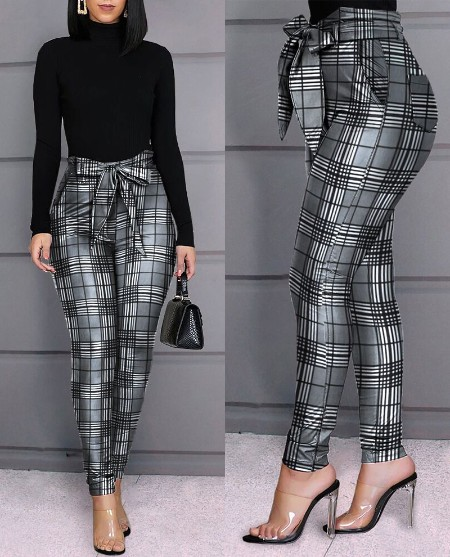 Grid Design Casual Pants