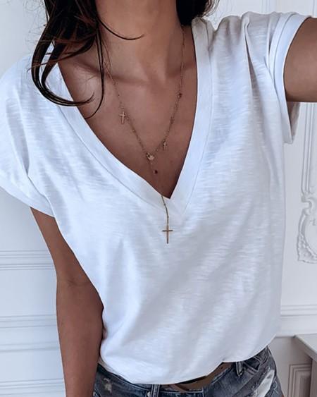 Solid V-neck Short Sleeve T-shirt