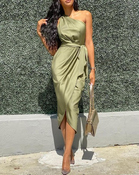 One Shoulder Ruched Design Party Dress