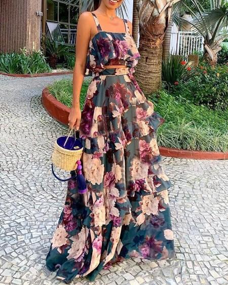 Thin Strap Floral Print Top & Layered Ruffles Maxi Skirt Set