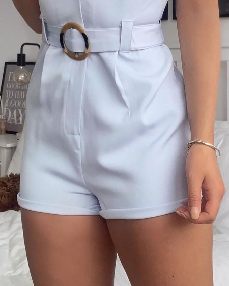 Notched Neck Buttoned Design Romper