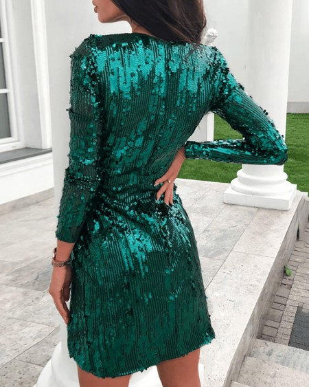 Sequins Tied Waist Ruched Dress