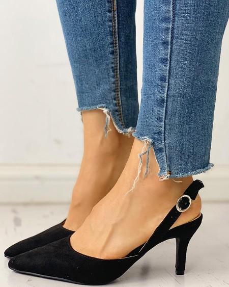 Pointed Toe Suede Slingback Heels
