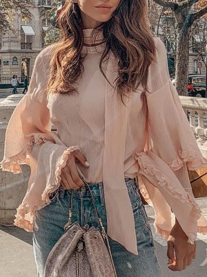 Layered Bell Sleeve Pullover Blouse