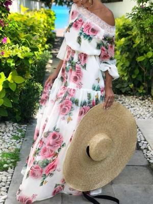 Floral Print Lace Splicing Off Shoulder Maxi Dress