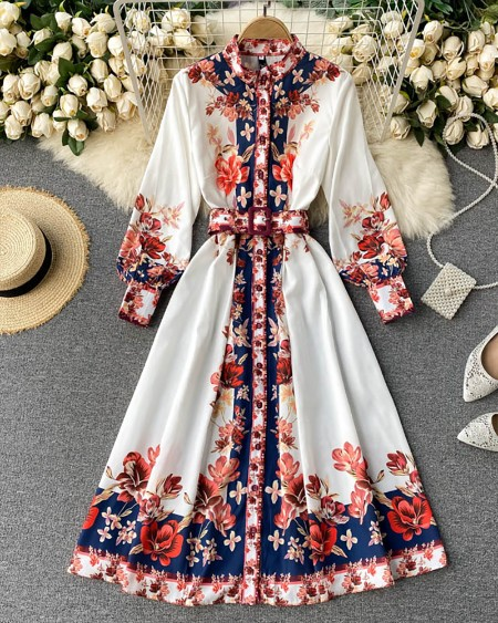 Floral Print Lantern Sleeve Casual Dress