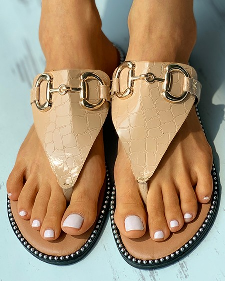 Metal Decor Toe Post Croc Embossed Sandals