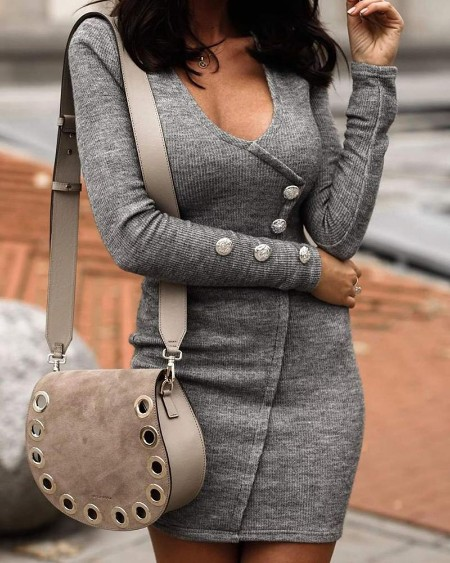 Buttoned Long Sleeve Bodycon Dress