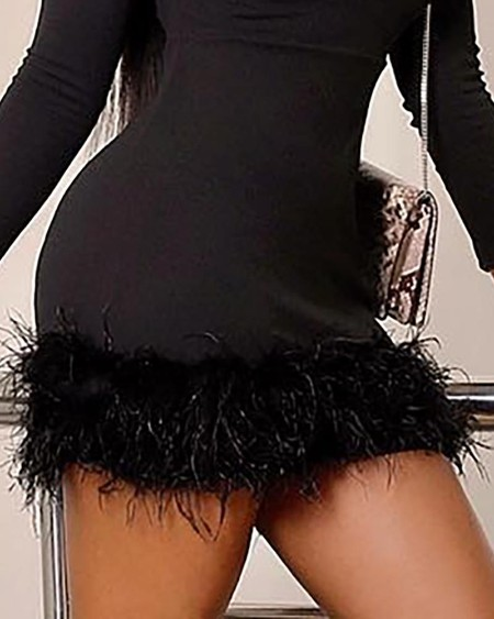 Solid Long Sleeve Fluffy Detail Dress