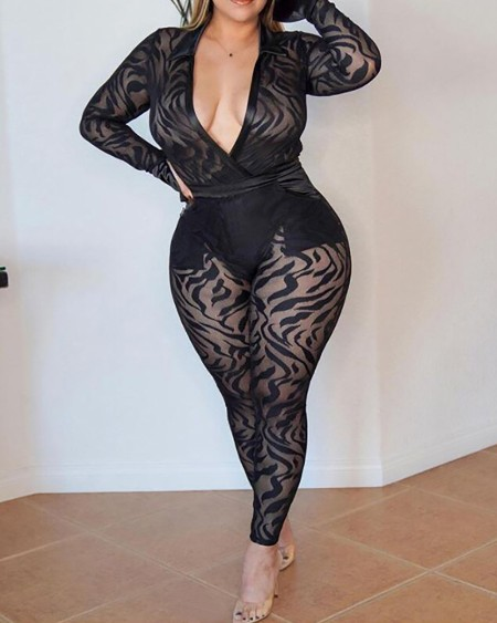 Plus Size Velvet Striped Sheer Mesh Jumpsuit
