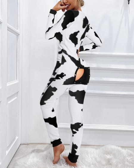 Cow Print Functional Buttoned Flap Adults Pajamas