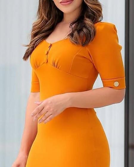 Solid Button Design Pep Hem Bodycon Dress