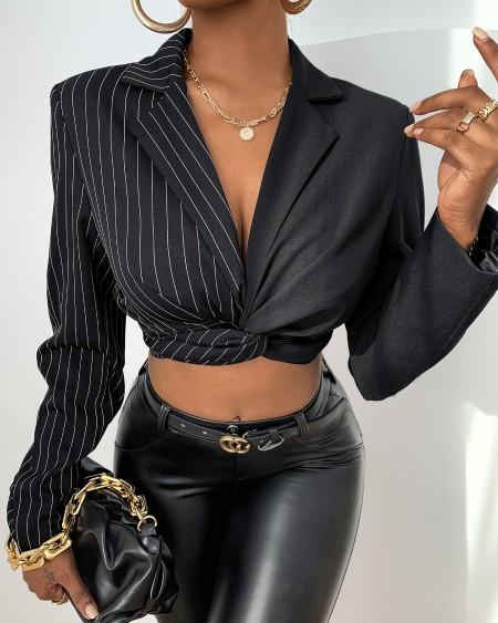 Striped Colorblock Long Sleeve Blazer Coat