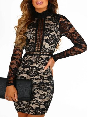 Open Back Lace Crochet Hollow Out Bodycon Dress