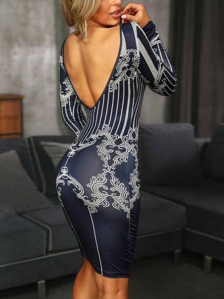 Retro Print Open Back Bodycon Dress