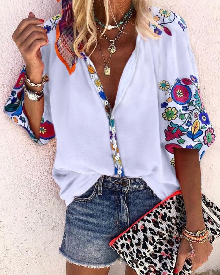 Floral Print Buttoned Casual Blouse