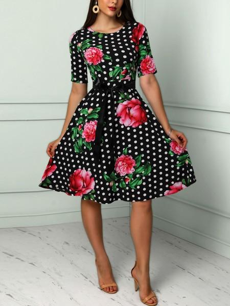 Vintage Floral & Dot Print Belted Casual Dress