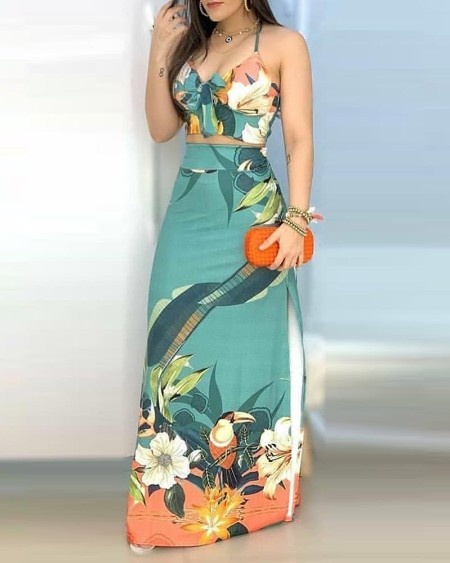 Tropical Print Tie Front Top & Slit Maxi Skirt Set