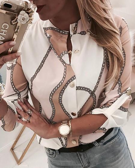 Chain Print Button Through Casual Shirt