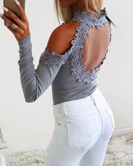 Crochet Lace Insert Cut Out Top
