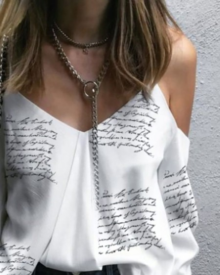 Letter Print Cold Shoulder Top
