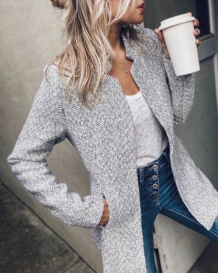 boutiquefeel / Pocket Design Long Sleve Casual Coat