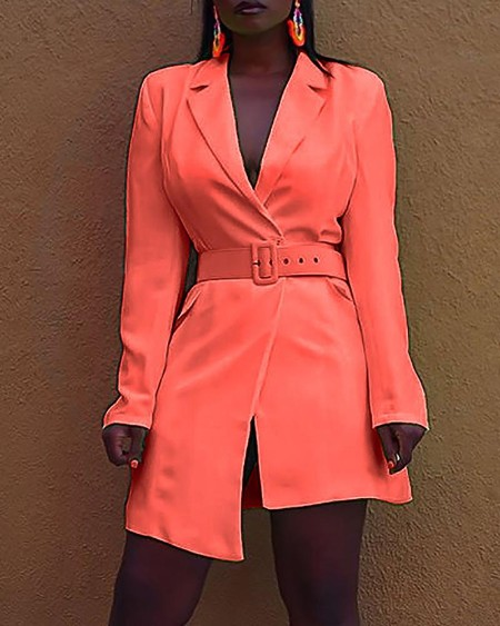 Solid Long Sleeve Asymmetrical Blazer Dress