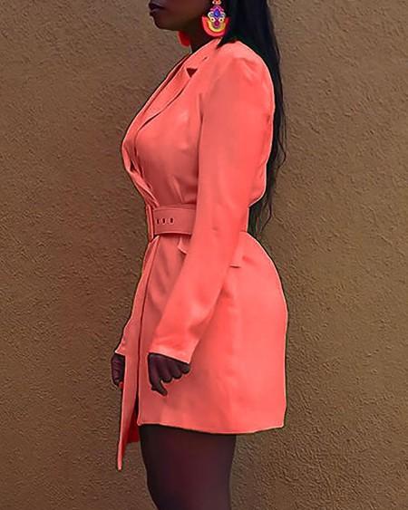 Solid Long Sleeve Asymmetrical Blazer Dress