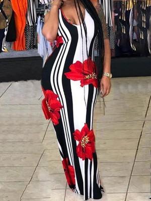 Sexy Floral Print Striped Bodycon Maxi Dress